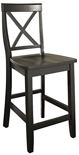 meet 52c17 af7b1 Crosley Furniture CF500424-BK X-Back Bar Stool (Set of 2), 24-inch, Black