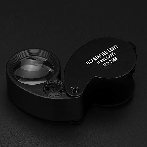 Hisoul Hot  Multifunctional Mini LED Magnifier, 40X Folding Pocket Magnifier with 2 White LED Light Round Swing-Away Chrome Magnifier Perfect for Watch Stamps Jeweler Diamond (Black) by Hisoul (Image #5)