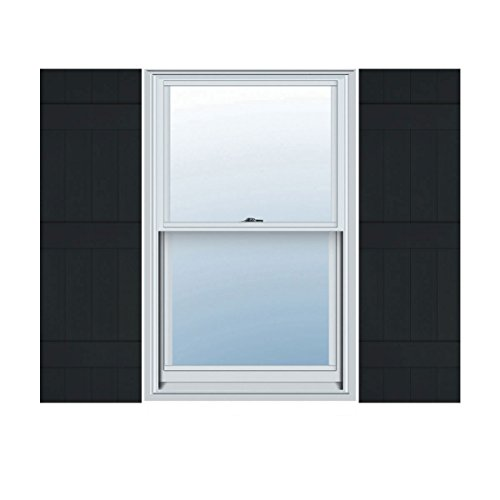 (Ekena Millwork LJ4S14X07100BL Lifetime Vinyl Standard Four Joined with Board-n-Batten Shutters, 14