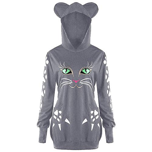 Climbing Hooded Pullover - ZYooh Clearance Womens Plus Size Sweatshirt Cute Cat Print Hoodie Blouse with Ears Hooded Pullover Tops(Gray,XXXXXL)