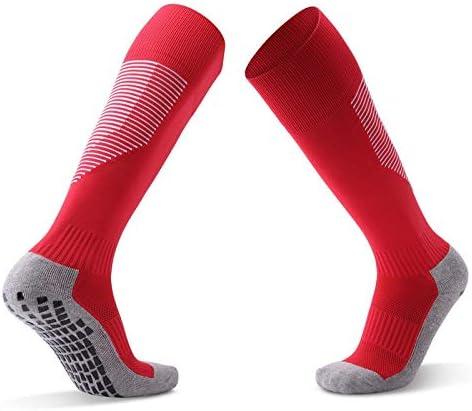 スポーツソックス 靴下 ディスペンシング滑り止めサッカーソックススポーツソックス厚手のタオルボトムオーバーニーストッキング快適で スポーツ (Color : Red, Size : One size)