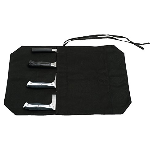 A Chef's Knife Roll Bag - Portable Travel Chef Knife Case Carrier Storage Bag with 4 Slots Best Gift For Pro Chef or Culinary Enthusiasts Men Women HGJ03-P Black