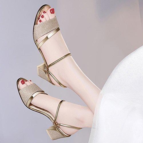Oro Abierto Lentejuelas De Pie Tamaño Grueso Zapatos 8cm Moda Zapatillas Mujeres Romanos Plata Dedo Medias Tacón Del Eu Sandalias Las Verano Color Zhirong SpTvqT