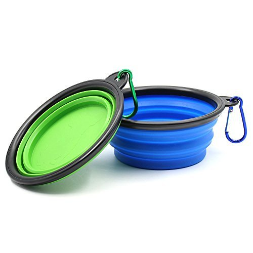 Ovinm Collapsible Travel Dog Bowl (2 Pack) - Premium Portable Foldable Pet Travel Bowl for Food & Water on Journeys - Food Grade Silicone BPA Free FDA Approved - Carabiners Included