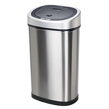 BestOffice TC-1350R 13-Gallon Touch-free Sensor Automatic Stainless-Steel Trash Can Kitchen 50r