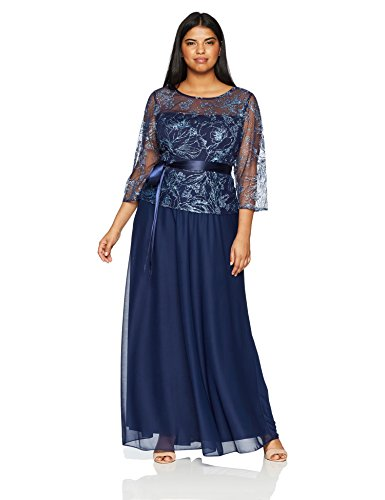 Emma Street Women's Plus Size Glitter Mesh and Chiffon Gown, Navy, 14W