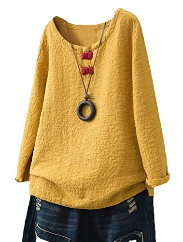 Minibee Women's Pullover Tunic Top Chinese Frog Button Blouse Long Sleeve Shirt Yellow 2XL