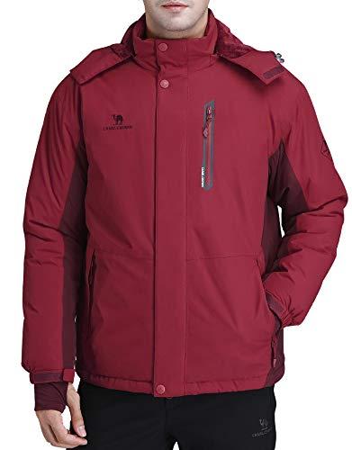 Jackets Waterproof Windproof - CAMEL CROWN Men's Mountain Snow Waterproof Ski Jacket Detachable Hood Windproof Fleece Parka Rain Jacket Winter Coat