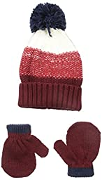 Carters Baby-Boys Cuff Hat and Mitten Set, Red, 0-9 Months
