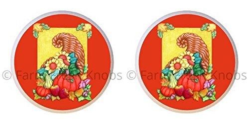 SET OF 2 KNOBS - Cornucopia Design #004 - Cornucopia Fall Harvest - DECORATIVE Glossy CERAMIC Cupboard Cabinet PULLS Dresser Drawer KNOBS