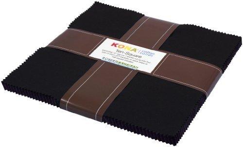 "Robert Kaufman KONA COTTON SOLIDS BLACK 10"" Fabric Squares 4"