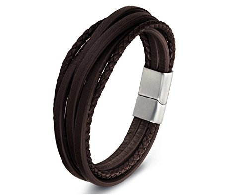 Zen Styles Men's Brown Leather Bracelet, Multi-Strand Braided Cuff Bracelet with Stainless Steel Magnetic Clasp, Premium Quality, Fits Wrist Size 9 Inches, - Mans Fancy Bracelet