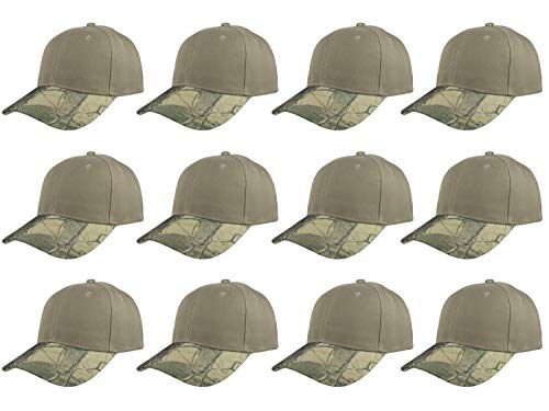 Gelante Plain Blank Baseball Caps Adjustable Back Strap Wholesale LOT 12 PC'S (Khaki - Cap Youth Adjustable Camo