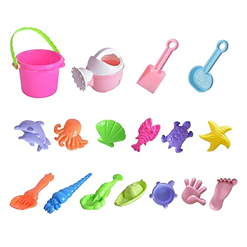 Mortilo 17 Pieces Beach Sand Toys Set, Bucket with Sieve, Shovel, Rake Molds, Outdoor Tool Kit for Kids, Toddlers, Boys and Girls (C-17PC)