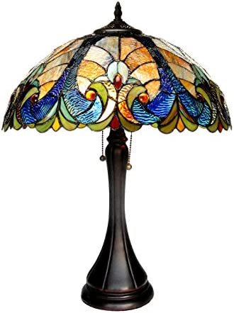 Chloe Lighting CH16780VA16-TL2 Tiffany Amor, Tiffany-style Victorian 2 Light Table Lamp 16-Inch Shade, Multi-colored