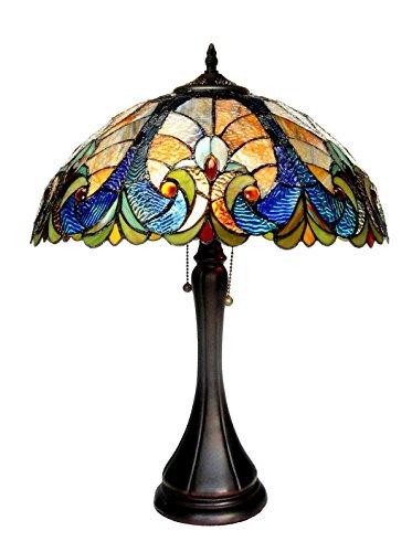 Chloe Lighting CH16780VA16-TL2 Tiffany Amor, Tiffany-style Victorian 2 Light Table Lamp 16-Inch Shade, Multi-colored