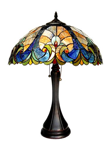 Demmex 2019 Turkish Moroccan Mosaic Table Bedside Night Tiffany Bedside Lamp for US Use, Turquoise, Teal, Green