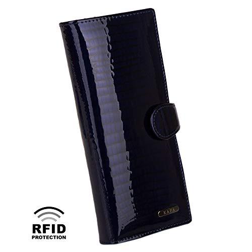 Womens Wallet RFID Blocking Genuine Leather Large Capacity Card Holder Dark Blue