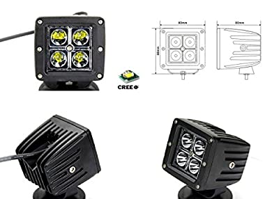 """iJDMTOY 40W CREE High Power 3"""" Cube LED Fog Light Kit w/ Bumper Metal Mounting Brackets For 2009 and up Dodge RAM 2500 3500"""