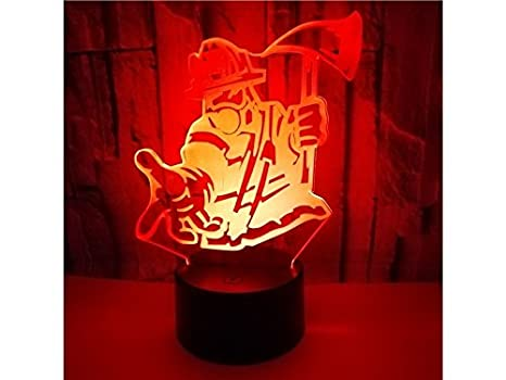 Ordenador portátil Axe Fireman 3D Ilusión óptica Noche Decorativa Luz 7 Cambio de Color Touch Table Lámpara de Mesa USB Powered Lamp Lampara de Lectura: ...