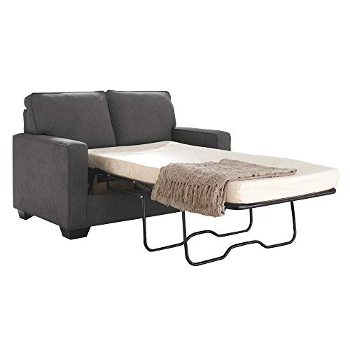 (Ashley Furniture Signature Design - Zeb Sleeper Sofa - Contemporary Style Couch - Twin Size - Charcoal)