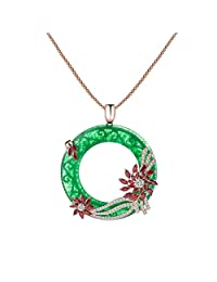 KnSam Women Rose Gold Plate Pendant Necklace Jade Ring Sunflower Snake Green Crystal