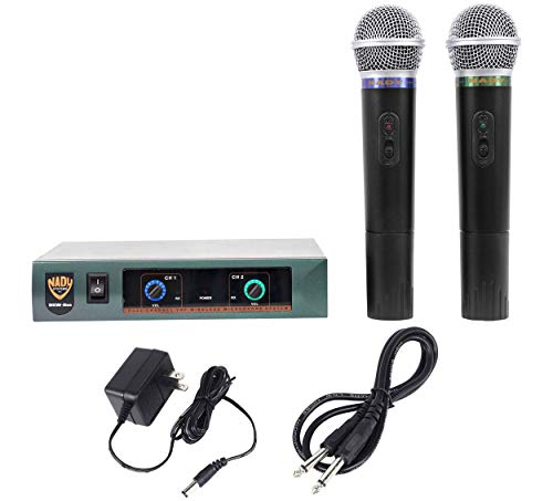 (Nady DKW DUO HT P/R VHF Dual Wireless Handheld Microphone System – includes 2 microphones, AC adapter and audio cable – Easy setup – Karaoke, performance, presentation, public address)