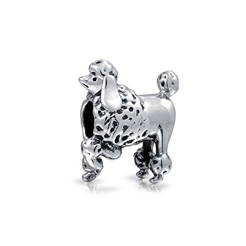 Christmas Gifts 925 Sterling Silver Poodle Show Dog Charm Fits Pandora Animal Bead