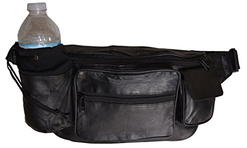 Premium Leather Fanny Pack Travel Waist Belt Bag Pouch Hydration Bottle Holder by Wallet (Image #2)