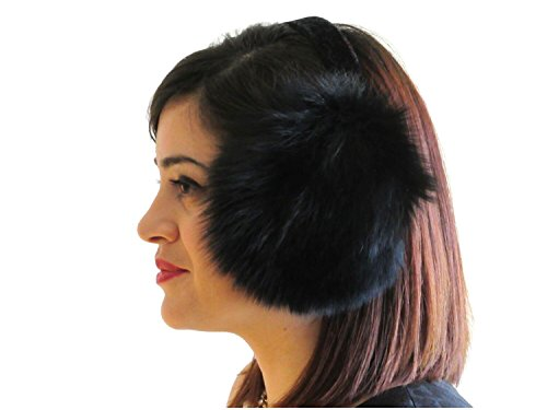 Dyed Black Fox Ear Muffs (Fox Fur Earmuffs)
