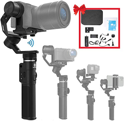 3-Axis Gimbal Stabilizer for Mirrorless Camera Sony a6300/a6500 α7SII RX100 Gopro 8/7/6/5 Action Camera Smartphone iPhone 11 Xs Max 8plus Samsung S10+, 2.65lb Payload,Splashproof,FeiyuTech G6 Max