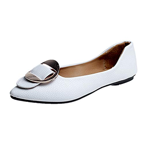 Cywulin Women's Comfortable Buckle Point Toe Slip On Ballet Sweet Flat Dress Shoes Elegant Cute Ballerina Fashion Lazy Loafer (White, 7 M US) ()