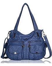 Angelkiss 2 fermetures à glissière supérieures sacs à main multi poches sacs à main en cuir lavé sacs à bandoulière 5739/1 (bleu)