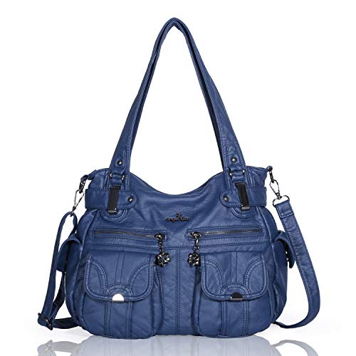 (Angelkiss Women's Designer Handbag Large Double Zipper Multi Pocket Washed, Blue)