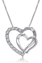 Sterling Silver Double Heart Diamond Pendant-Necklace on an 18 IN Chain