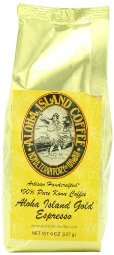 Aloha Island Coffee Espresso Organic 100% Pure Kona Coffee, 8 Oz Ground, 8-ounces