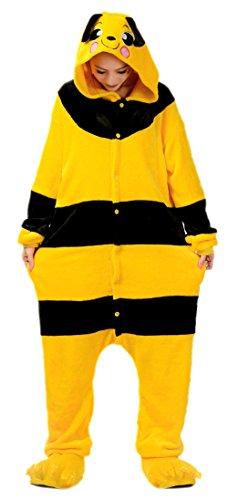 Japsom Unisex Adult Plush Honey Bee Romper Costume Pajamas Suit Pig
