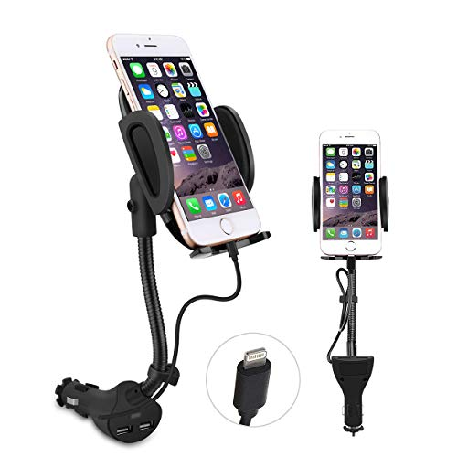 - Te-Rich Auto Cell Phone Car Holder Cigarette Lighter Mount Charger [Dual USB Port, 3.1A] w/Built-in Charging Cable Compatiable with iPhones