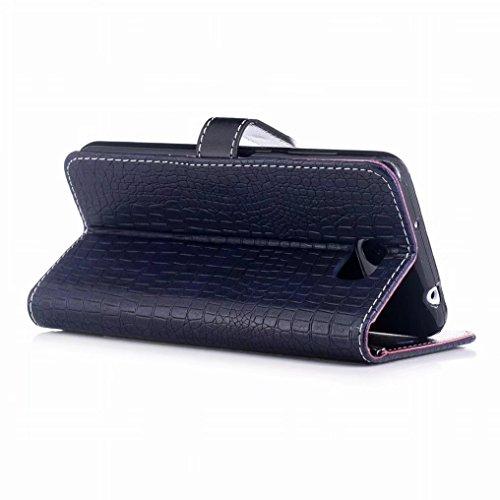 Housse Silicone Crocodile Coque Protecteur Pochette Y5 noir Cuir 2 stripe Pour Pu Ougger Caoutchouc Cover Huawei Etui Fente Magnétique Avec Carte Bleu Flip 87g0xnqw