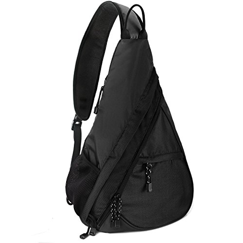 Shoulder Chest Crossbody Sling Bag Pack Backpack for Men Women Girls Boys (Black Nylon Sling)