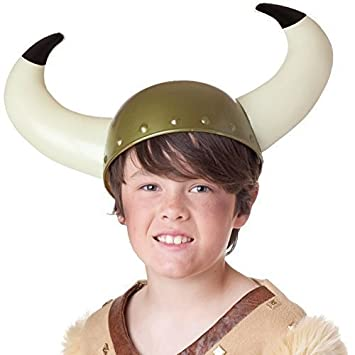 638bd5ab945 Childs Viking Helmet Hat With Horns Kids Fancy Dress Party Costume Accessory   Amazon.co.uk  Toys   Games