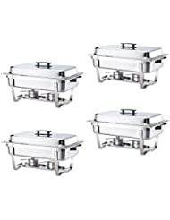 ALPHA LIVING 70014 4 Pack 8QT Chafing Dish High Grade Stainless Steel Chafer Complete Set, 8 QT