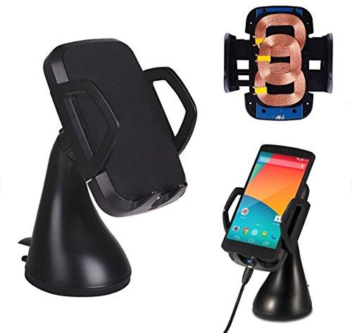LingsFire® Induktives Ladegerät Dual Kfz Halterung Set Qi Ladegerät Induktionsladegerät Qi induktive Ladestation mit 3 Induktionsspulen Autoladegerät Kfz Ladegerät QI Kabellose 360°drehbar Handy mount holder windschield Handyhalter Handyhalterung Auto Halter für Samsung Galaxy S6 / S6 Edge,HTC M9,Nexus 5, Nexus 4, Nokia Lumia 920, MOTO Droid Mini, LG G3, HTC Droid DNA, HTC Rzound, Blackberry Z30, Pentax, Samsung, Google, LG, HTC sowie andere Qi-fähige Handys und Tablets