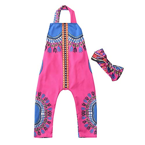 (❤Ywoow❤❤ , Toddler Kid Baby Girl African Print Sleeveless Romper Hair Band Jumpsuit)