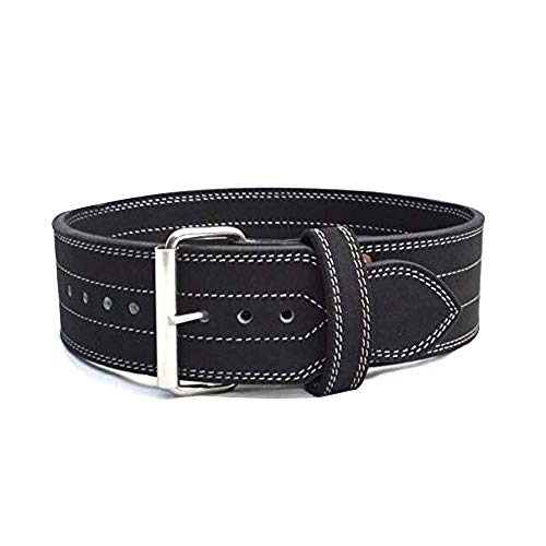 Jayefo Power Lifting Belt Leather Single Prong Power Belt Gym Bodybuilding 4 Inches 10 MM Thick Weight Lifting Weightlifting Belt for Men & Women Workout (L)