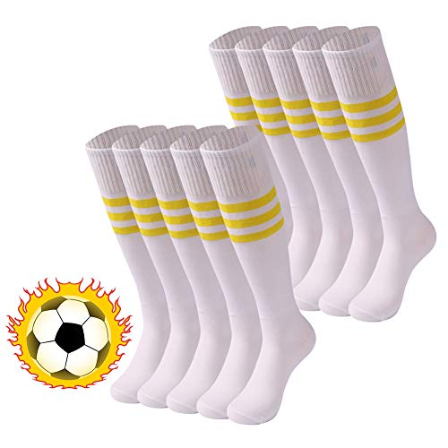 saounisi Plush Size Knee High Socks Bright Solid Color Funky Crazy College Student Soccer Sports Tube Long School Uniform Socks 10 Pairs White ()