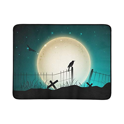 YSWPNA Scary Halloween Eps 10 Portable and Foldable Blanket Mat 60x78 Inch Handy Mat for Camping Picnic Beach Indoor Outdoor Travel ()