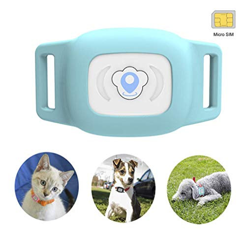 BARTUN Mini GPS Dog Cat Tracker Locator for 28lb Pets Waterproof IP67 Real Time Activity Monitor AGPS LBS SMS Positioning Tracking Device with Collar Included SIM Card (Blue)