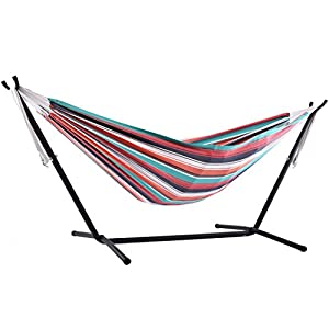 Vivere Double Hammock with 9 ft Steel Hammock Stand