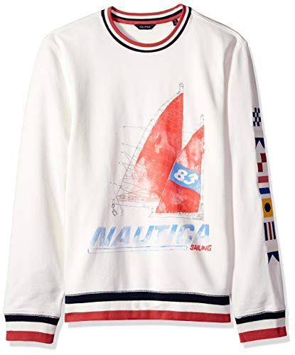 Nautica Men's Long Sleeve Crew Neck Artist Series Sweatshirt, sail White Large ()